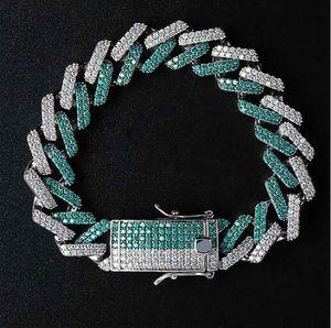 15mm Diamante Verde Diamante Cubano Elo Da Ligação CZ Bling Bling 8 inch 14 K banhado A Ouro pulseira de hip hop 8 inch Comprimento