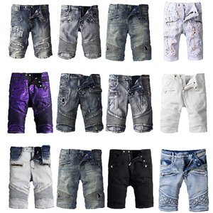 Klassische Balmain Denim Shorts Ripped Holes Design Jeans Schwarz Lässige Spring Hop Rap Street Hose Pencil Pants