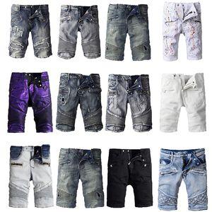 Классические шорты Balmain Denim Рваные джинсы с джинсами Черные повседневные уличные брюки Hip Hop Rap Брюки-карандаш