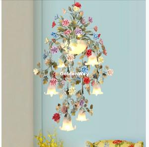 Art Цветочная Люстра лампа Luster Light 7L / 10L D58 / 71см Крытой Красочная керамическая Роза Подвеска Подвесной светильник E14 LED AC Бесплатная доставка