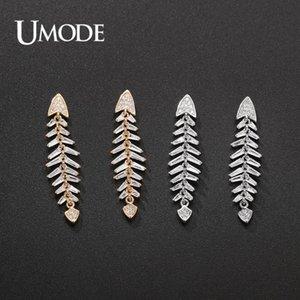 UMODE New pavimentada CZ cristal Fish Bone Brincos para Mulheres Moda cor do ouro Dangle Earring Jóias aniversário Dating UE0652
