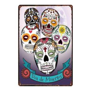 Crânio do açúcar de Metal Sign chique gasto mexicana Dia Festival Of The Dead For Recados Poster Bar Tattoo Art Shop Home Decor DU-3239A