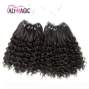 Micro Loop Hair Extensions 100% Human Micro Bead Links Machine Made Remy Micro Rings Human Hair Extensions 12-26inch Kinky Curly Cheap