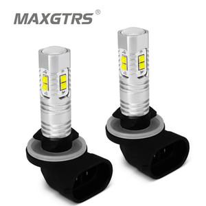 2 x H27 881 880 LED 30 W 50 W LED Ampul CREE Çip Araba Gündüz Çalışan Işık Sürüş Sis DRL Projektör Lens Ampul lamba Beyaz Kırmızı