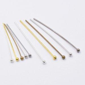 200pcs Dia 0,5 / 0,7 mm 12-35mm cabeza de bola pernos de metal Agujas perlas para la joyería de DIY que hace resultados de los accesorios del pendiente