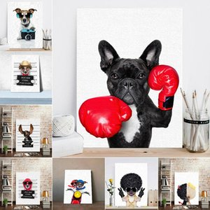 Estilo nórdico Boxing Dog Canvas No Frame Art Print Painting Poster Funny Cartoon Animal Wall Pictures para niños Decoración de la habitación