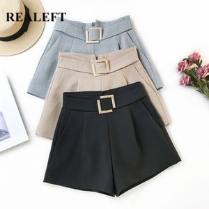 REALEFT New 2020 Summer Solid Metal Button Formal Shorts High Waist Chic Wide Leg Shorts Korean OL Style Elegant Trousers Ladies
