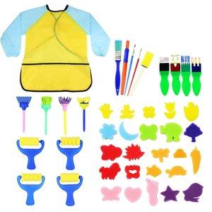 Farbe 42pcs Kinder Early Learning Sponge Painting Brushes Kit, Schwamm Zeichnen von Formen male Craft Bürsten für Kleinkinder Sortieren