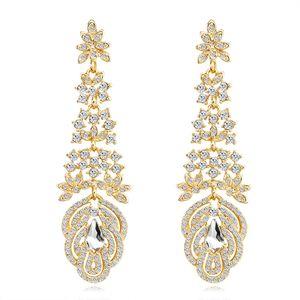 Glänzende Mode-Kristall-Ohrringe Strass lange Tropfen-Ohrring für Frauen Brautschmuck Hochzeit Geschenk für Bridesmaids BW-274