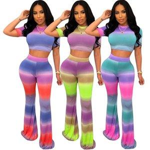 Kadınlar Tie-boya Gradient Color Kısa Kollu T Shirt Mahsul En İnce Flared Pantolon İki Adet Kıyafetler Spor Suit CZ528