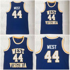 Uomo West Virginia East Bank High School Alpinisti Jerry 44 # West Jersey blu ricamo maglie da basket
