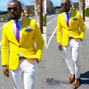 Yellow Wedding Groomsmen Tuxedos for Groom Wear Two Piece Notched Lapel Trim Fit Evening Prom Blazer Men Suits Jacket White Pants