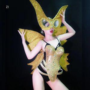 rhinestone Bar ballroom dance costumes bellydance butterfiy wings golden wear clothes stage dj sexy bra gogo tales rave festival