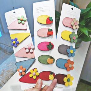 Conjunto niños 5pcs / historieta linda flor fruta horquillas de chicas Colores de cuero sintético pinzas de pelo del bebé de los niños accesorios para el cabello # 6ny9