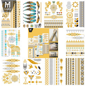Forniture Hot Flash Metallic provvisorio del tatuaggio in oro gioielli in argento Tatoo impermeabile Tatuaggio all'henné Sticker Body Art