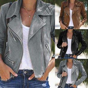 Женщины куртки PU кожи шуба полиэстер зимней куртки женщины Biker Jacket Crop Zip Up Тонкого пальто Punk Куртка Tops Плюс Размер