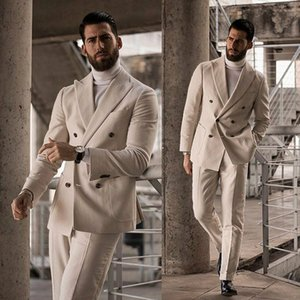 Wool Blend Men Wedding Suits Beige Double Breasted Notched Lapel Groom Wear Best Man Business Formal Prom Blazer(Jacket+Pants)