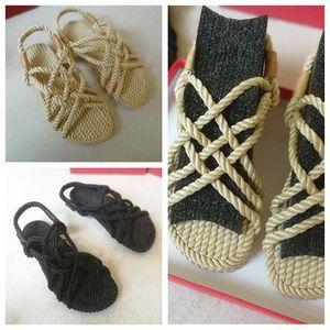 2020 ins verano Cuerda del cáñamo sandalia hierba vacaciones de ocio ratán flax plana zapatos tejidos a mano tejidos planos, de yute cruz mujer