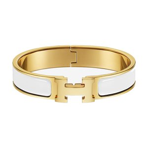12 mm Edelstahl-Armband-Designer H Brief Damen Gold Stahl Rose Gold Schmuck Punk Hip Hop Wilde Armband Männer Schmuck Großhandel