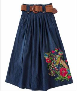 Großhandel S-5XL Big Size lange Jean Röcke Womens Denim Röcke Mädchen Böhmen Plissee Jupe blau Saia Folk Stich weiblicher Rock elastische Taille