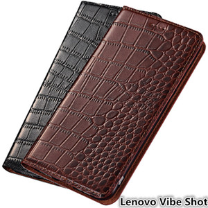 Estuche ultra delgado para Lenovo Vibe Shot Estuche de cuero genuino para Lenovo Vibe Shot con ranura para tarjeta