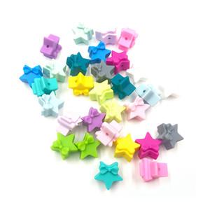 Perles silicone Mini étoiles Perles avec Teething mignon bowknot BPA bébé Chew Perles bricolage Collier Sucette Teething chaîne Bracelets de perles en vrac