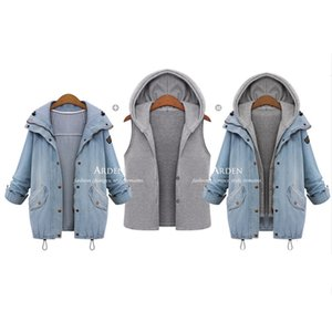M-6XL Pregnancy Clothes Winter Maternity Coat Denim Jacket Pregnant Woman Hooded Denim 2piece Suit Coat Loose Top Casual Outwear