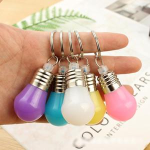 Mudança de cor Led Light Mini Lâmpada Chaveiro Chaveiro rgb contas chaveiro pingente de casal cadeia chave para presentes de natal crianças brinquedos