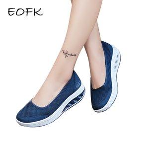 EOFK 2019 Verão Mulheres Flats Plataforma Shoes Mulher Casual Soft Light Air malha respirável Shoes Deslizamento em Tecido zapatos mujer