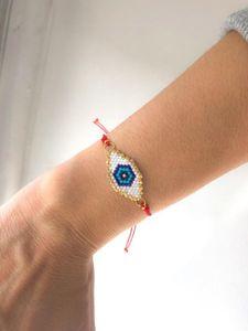 Schinus 10pcs / lot MIYUKI Pulseira turco Evil Eye Bileklik Miyuki Projeto Verão Handwoven Jóias Pulseras Beadwork Bijoux 2019