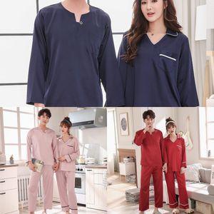 Couple imitation silk long-sleeved thin young Simulation pajamas pajamas women and men loose home clothes autumn