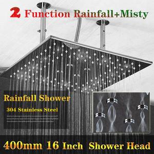 럭셔리 Rainfall 샤워 천장 2 기능 Inox 미러 / 브러쉬 샤워 헤드 큰 비 샤워 마사지 400x400mm
