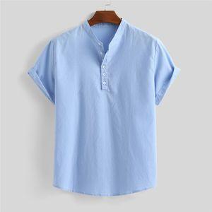 2020 Men's Summer Loose Cotton Blend Solid Color Button Short Sleeve Shirt Tops Breathable Casual Tops Camisas de hombre