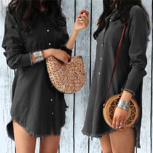 Moda Outono Mulheres estilista Vestido Lady Long Sleeve Denim Vestido camisa Casual Collar Mulheres Vestidos borlas roupas soltas partido Ligue-down