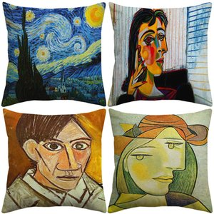10 Styles Pablo Picasso Famous Paintings Cushion Covers The Starry Night Surrealism Abstract Art Cushion Cover Decorative Linen Pillow Case
