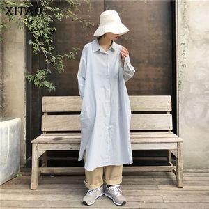 Xitao Korean Style Plus Size vestido listrado Mulheres manga comprida camisa Single-breasted Loose Women Roupas 2020 Primavera Vestidos DMY4287