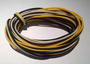 30 feet (10-white   10-black   10-yellow) Gavitt fabric pre-dyed 7-strand push back 22-watt retro style guitar cord