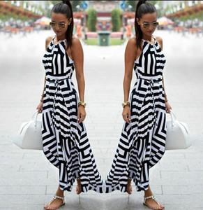 Sommer-Kleid-Frauen-reizvolle Boho gestreifter Ärmel Maxi Kleid-Strand-Art-Bügel Sundress Vestidos Weiblich 987428