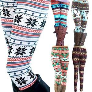 Dokuz Pantolon İyi Kalite Drop Shipping yazdırma Sıcak Kadınlar Tozluklar Yeni Kış Örgü kar tanesi Noel Stretch Pantolon