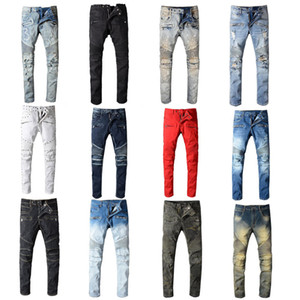 2020 Balmain Mens Distressed rasgado Biker Jeans Slim Fit Motociclista Denim For Men Fashion Designer Hip Hop Jeans Mens Boa Qualidade