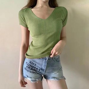 women's blouse plus size Sexy Fashion Women Knitted V-Neck Short Sleeve Ladies Solid Top top female blusa feminina