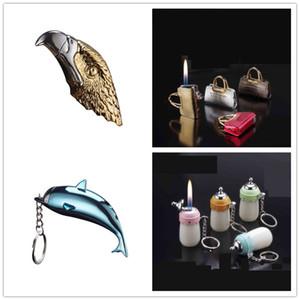 Creative gaz Fumer flamme allume-cigare rechargeable Butane Briquets Sac bouteille fichier Dolphin Extinguisher d'Eagle 5 Styles