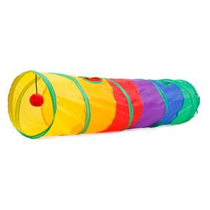 텐트 게임 공 115 * 25cm 다채로운 Foldable 고양이 애완 동물 놀이 터널 고양이 야외 p로 장난감 2 구멍을 재생