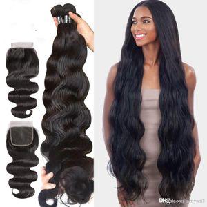 7A Virgin Hair Body Wave Bundles With Closure Brazilian Hair Weave Bundles Human Hair Extension Free Shipping
