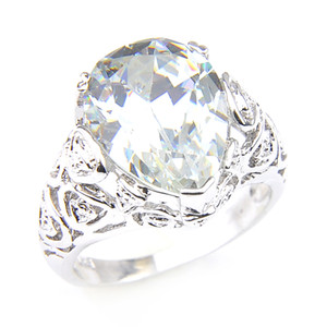 Luckyshine Latest 925 Sterling Silver Plated Pear shape White Topaz Gems Womens Ring Jewelry Beautiful Wedding Party Gift Crystal