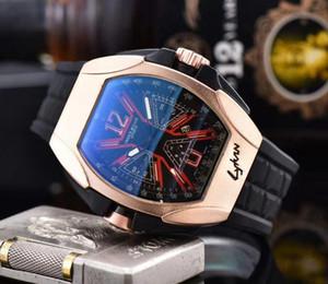 Relojes de lujo para hombre del diamante del bisel de oro rosa Dial Negro esquelético automático de pulsera Top relogies para hombres Negro de goma relojes deportivos