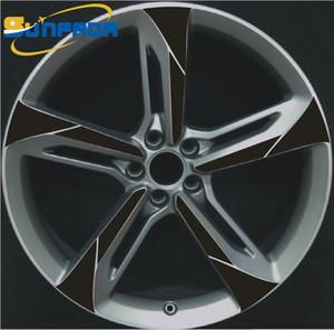 """SUNFADA 18 """"19"""" 20 """"21"""" Tekerlek Hub / Jantlar Karbon Fiber Araba Çıkartmaları AUDI A4 Için A6 A8 Q7 RS7 RS6 RS4 TT Çıkartması Araba-styling 4 Tekerlekler"""