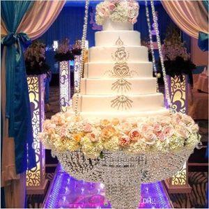 ترف كريستال معلق كعكة حامل كعكة الزفاف حامل شفاف كريستال الخرز أكريليك زهرة حامل الزفاف الجدول محور