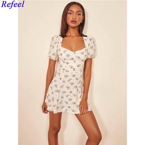 Elegant french vintage dress woman square neck A line high waist elastic bust short sleeve backless holiday summer mini dress