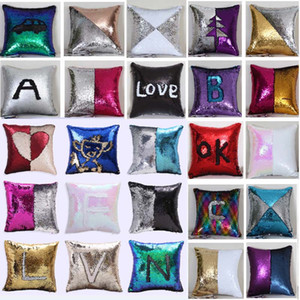 Sequin Mermaid Cushion Cover Pillow Case Pillow Cover Home Decorative Bling Magic Reversible Glitter Sofa Car Pillowcase Xmas HH7-1526